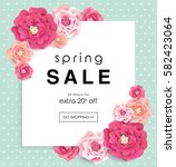 spring sale poster with... | Shutterstock .eps vector #582423064