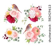 surprise bouquets and cute...   Shutterstock .eps vector #582429613