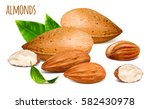almonds whole and almond... | Shutterstock .eps vector #582430978