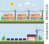 solar cell energy supply to city | Shutterstock .eps vector #582431110