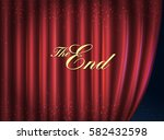 curtain red. the end message.... | Shutterstock .eps vector #582432598