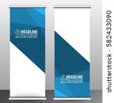 roll up banner stand template...   Shutterstock .eps vector #582433090