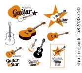 acoustic guitar logo and icons... | Shutterstock .eps vector #582433750