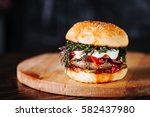 burger with  meat  tomato  dill ... | Shutterstock . vector #582437980