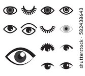 collection of simple eye icon... | Shutterstock .eps vector #582438643