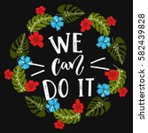 we can do it text  feminism... | Shutterstock .eps vector #582439828