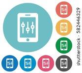 smartphone tweaking flat white... | Shutterstock .eps vector #582446329