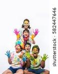 5 indian small kids   friends   ... | Shutterstock . vector #582447646