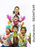 5 indian small kids   friends   ... | Shutterstock . vector #582447649