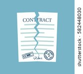 terminated contract. vector... | Shutterstock .eps vector #582448030