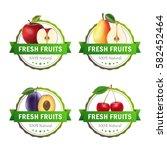 set of fruits badges. apple ... | Shutterstock .eps vector #582452464