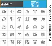 delivery and logistics line... | Shutterstock .eps vector #582453700
