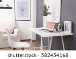 comfortable workplace with... | Shutterstock . vector #582454168