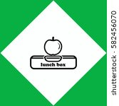 lunch box with apple  icon...