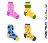 flat design colorful socks set... | Shutterstock .eps vector #582467350