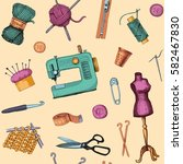 pattern with sketches of sewing ... | Shutterstock .eps vector #582467830