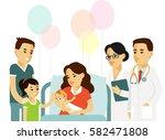 happy family concept in flat... | Shutterstock .eps vector #582471808