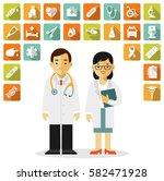 medicine set with practitioner... | Shutterstock .eps vector #582471928