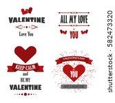 valentine's day labels  badges  ... | Shutterstock .eps vector #582473320
