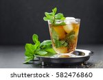 mint julep cocktail with... | Shutterstock . vector #582476860