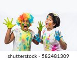 indian siblings playing colours ...   Shutterstock . vector #582481309