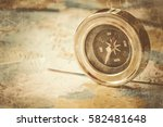 compass on map background... | Shutterstock . vector #582481648