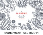 seafood top view illustration.... | Shutterstock .eps vector #582482044