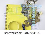 magnify glass coins and... | Shutterstock . vector #582483100