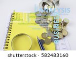 magnify glass coins and... | Shutterstock . vector #582483160