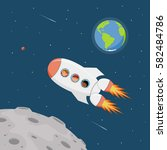 travel on a space ship.... | Shutterstock .eps vector #582484786