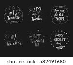 happy teacher's day labels ... | Shutterstock .eps vector #582491680