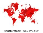 illustrated red map of the... | Shutterstock . vector #582493519