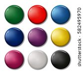 set of nine colored pin magnets ...   Shutterstock .eps vector #582495970