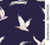Watercolor Pattern Flying Bird...