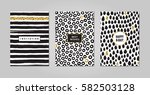 black ink  white and gold... | Shutterstock .eps vector #582503128