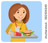 woman with a tray of food in... | Shutterstock .eps vector #582504340
