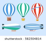 set of hot air balloons and