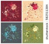 grunge splatter background set... | Shutterstock .eps vector #582511384