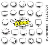 Stock vector big set of cartoon comic speech bubbles empty dialog clouds with halftone dot background in pop 582517309