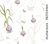 garlic graphic color seamless... | Shutterstock .eps vector #582524464