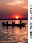 sunset in danube delta from... | Shutterstock . vector #582526114