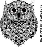 owl vector handdrawn in... | Shutterstock .eps vector #582526948