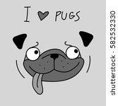 Stock vector cute cartoon pug funny dog vector illustration 582532330