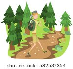 boy scout with backpack hiking... | Shutterstock .eps vector #582532354