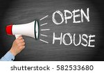 open house   megaphone with... | Shutterstock . vector #582533680