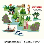 southern thailand travel with... | Shutterstock .eps vector #582534490
