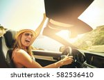 single laughing or celebrating... | Shutterstock . vector #582536410