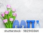 spring flatlay sports... | Shutterstock . vector #582543364