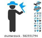 gentleman with flag pictograph... | Shutterstock .eps vector #582551794