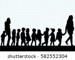 group of children on a walk. | Shutterstock .eps vector #582552304